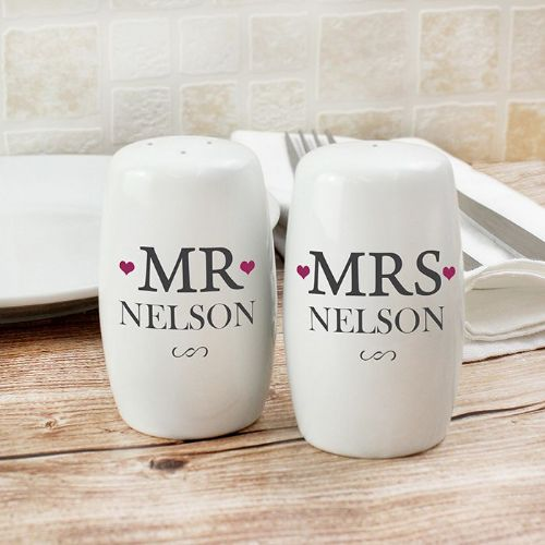 Personalised Mr & Mrs Salt And Pepper Set